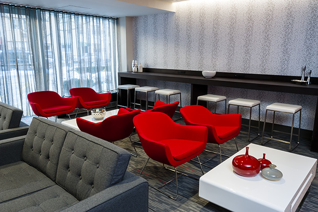 Recreation lounge in brooklyn in site interior design for Commercial interior design nyc